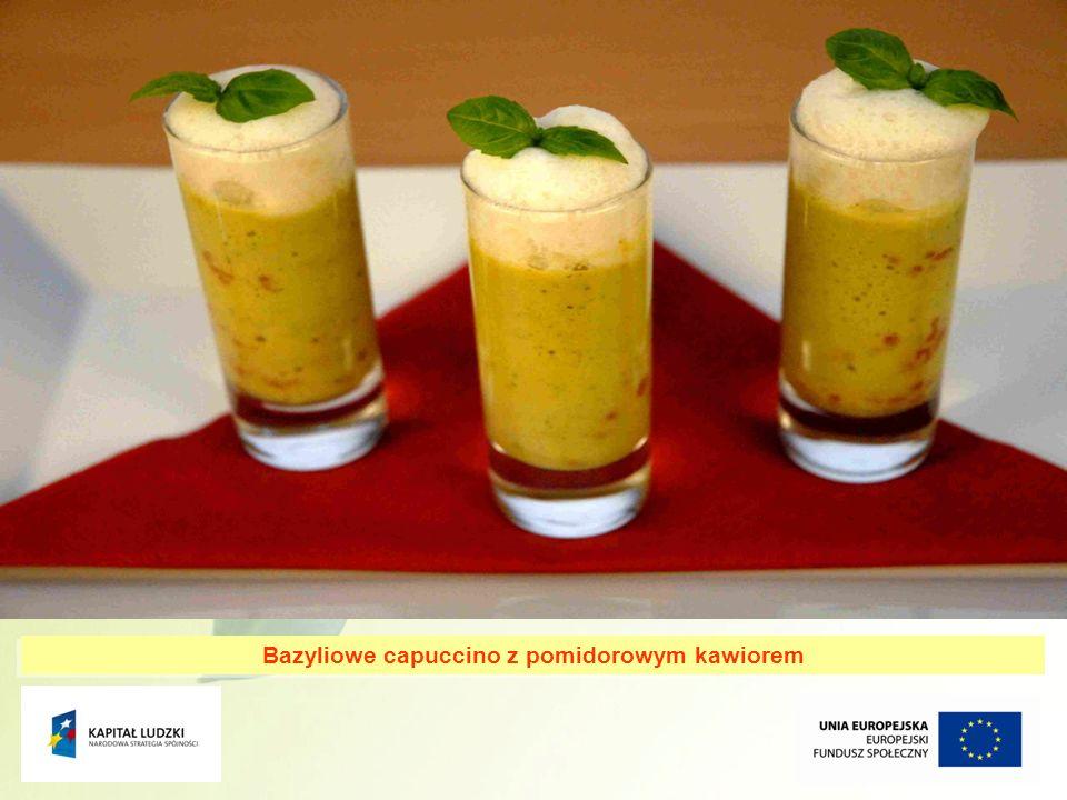 Bazyliowe capuccino z pomidorowym kawiorem