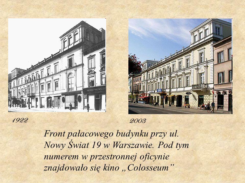 1922 2003. Front pałacowego budynku przy ul. Nowy Świat 19 w Warszawie.