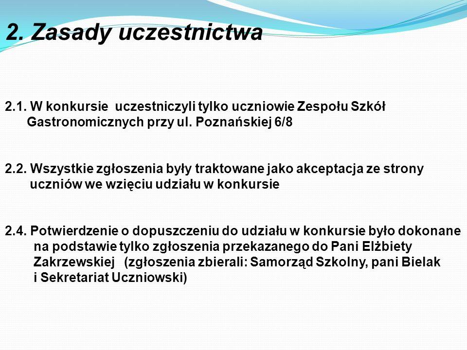 2. Zasady uczestnictwa 2.1. W konkursie uczestniczyli tylko uczniowie Zespołu Szkół. Gastronomicznych przy ul. Poznańskiej 6/8.