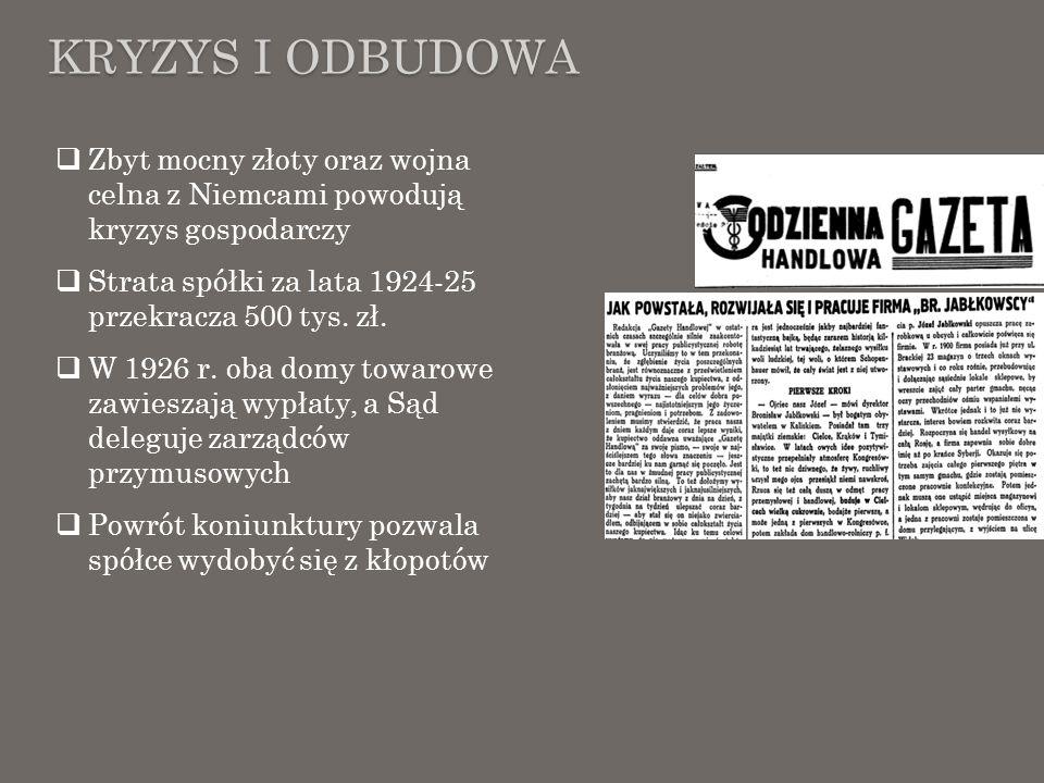 Kryzys i odbudowa Zbyt mocny złoty oraz wojna celna z Niemcami powodują kryzys gospodarczy. Strata spółki za lata 1924-25 przekracza 500 tys. zł.