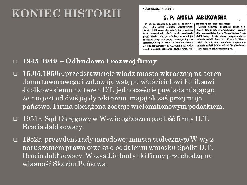 Koniec Historii 1945-1949 – Odbudowa i rozwój firmy