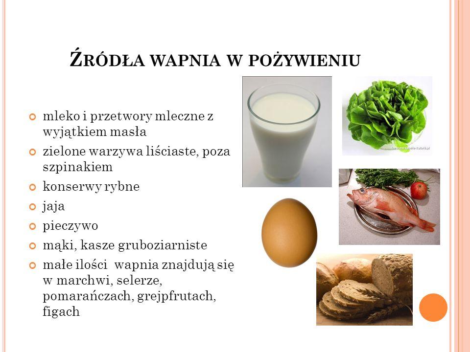 Źródła wapnia w pożywieniu