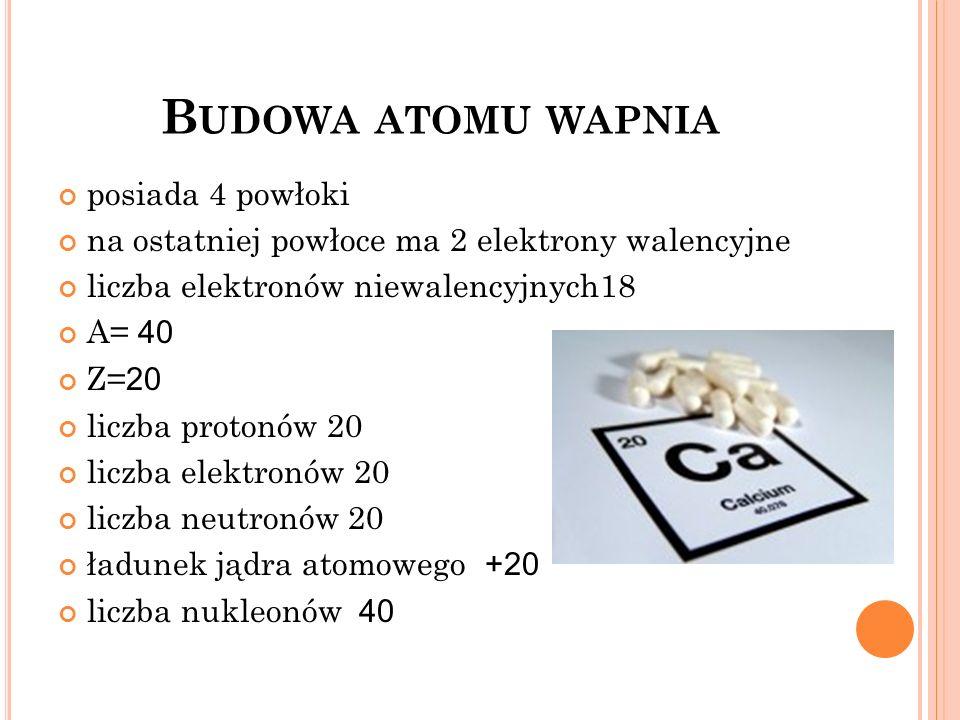 Budowa atomu wapnia posiada 4 powłoki