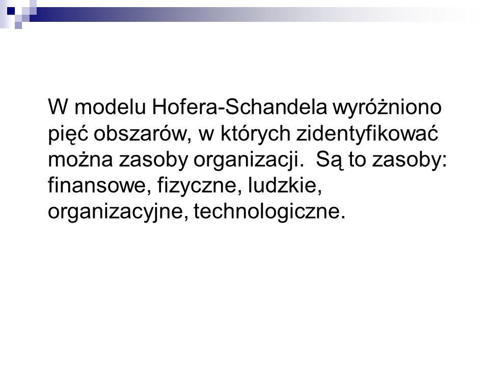 W modelu Hofera-Schandela wyróżniono pięć obszarów, w których zidentyfikować można zasoby organizacji.