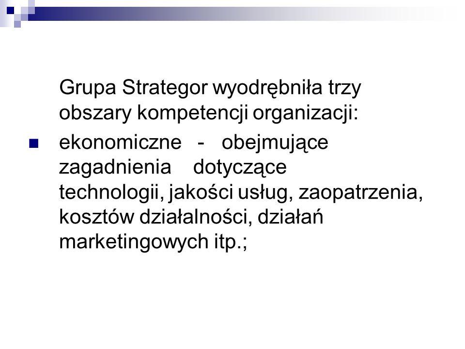 Grupa Strategor wyodrębniła trzy obszary kompetencji organizacji: