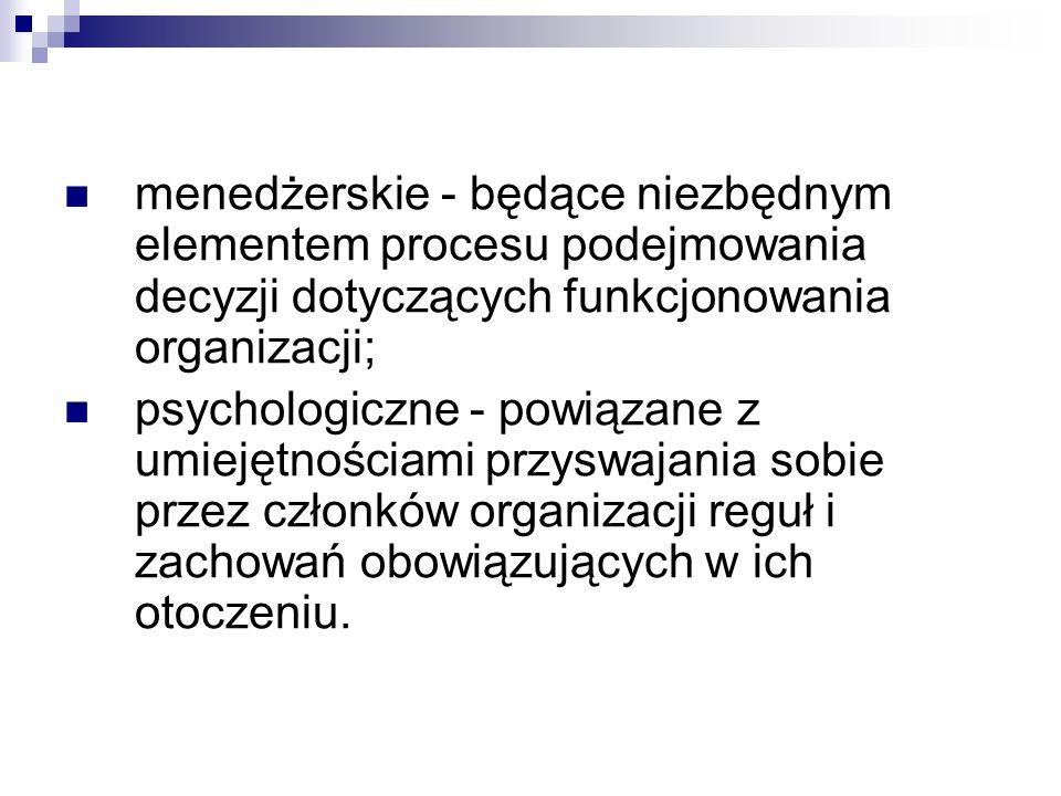 menedżerskie - będące niezbędnym elementem procesu podejmowania decyzji dotyczących funkcjonowania organizacji;