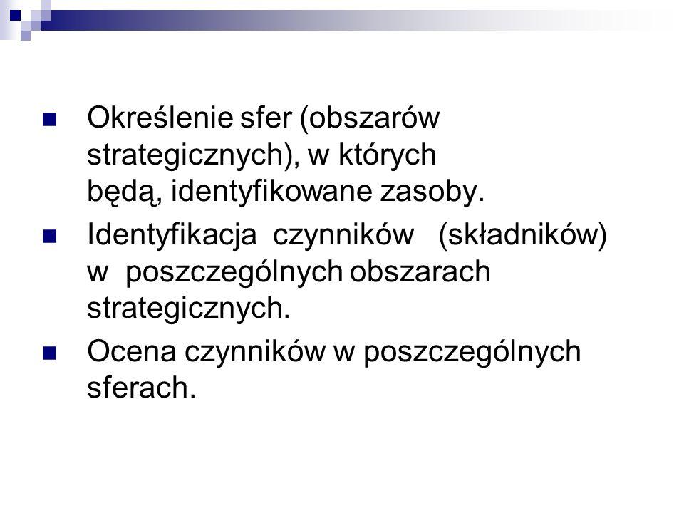 Określenie sfer (obszarów strategicznych), w których będą, identyfikowane zasoby.