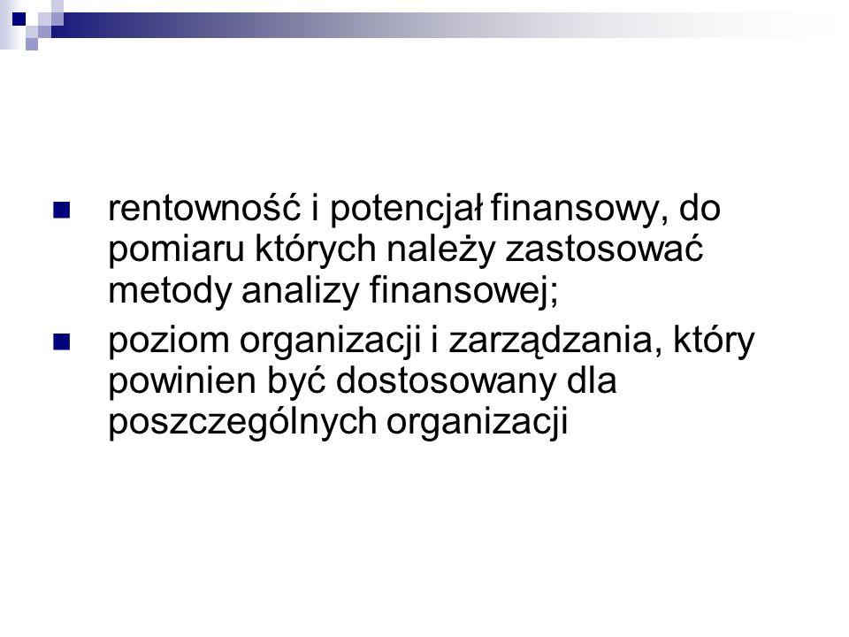 rentowność i potencjał finansowy, do pomiaru których należy zastosować metody analizy finansowej;