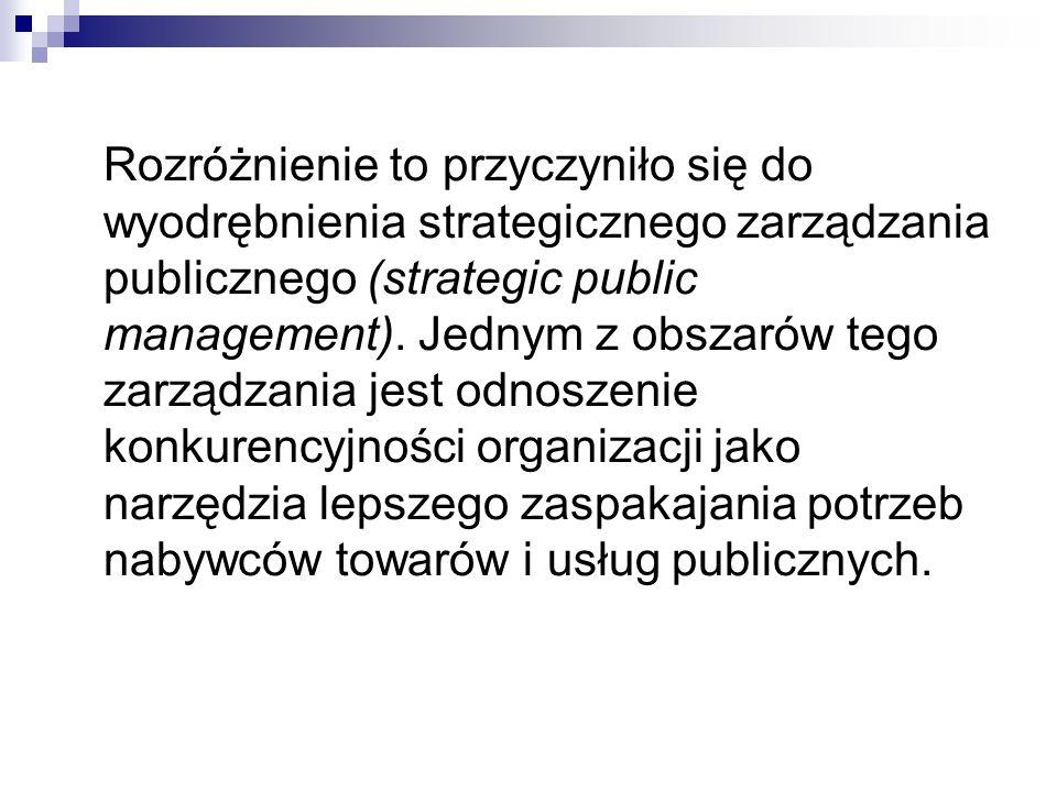 Rozróżnienie to przyczyniło się do wyodrębnienia strategicznego zarządzania publicznego (strategic public management).