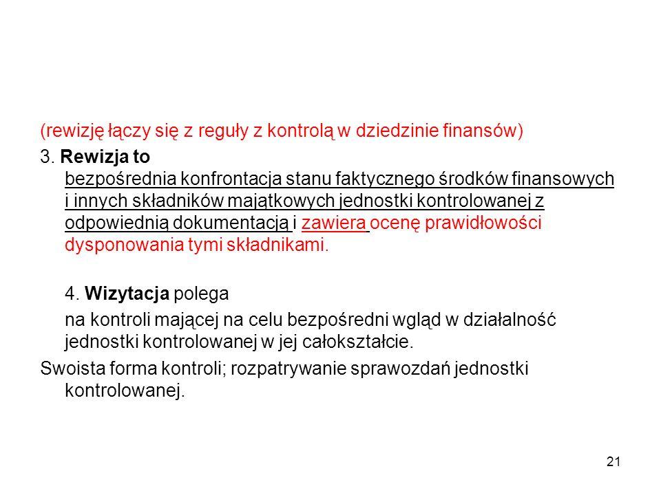 (rewizję łączy się z reguły z kontrolą w dziedzinie finansów) 3