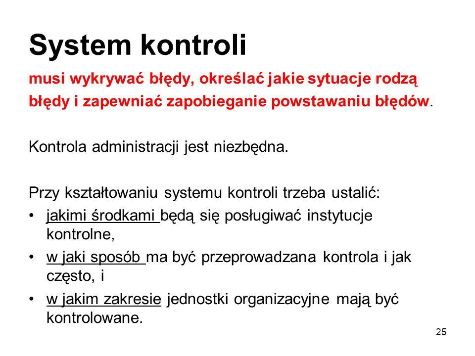 System kontroli musi wykrywać błędy, określać jakie sytuacje rodzą