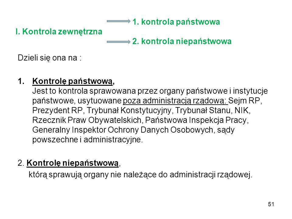 1. kontrola państwowa I. Kontrola zewnętrzna 2. kontrola niepaństwowa