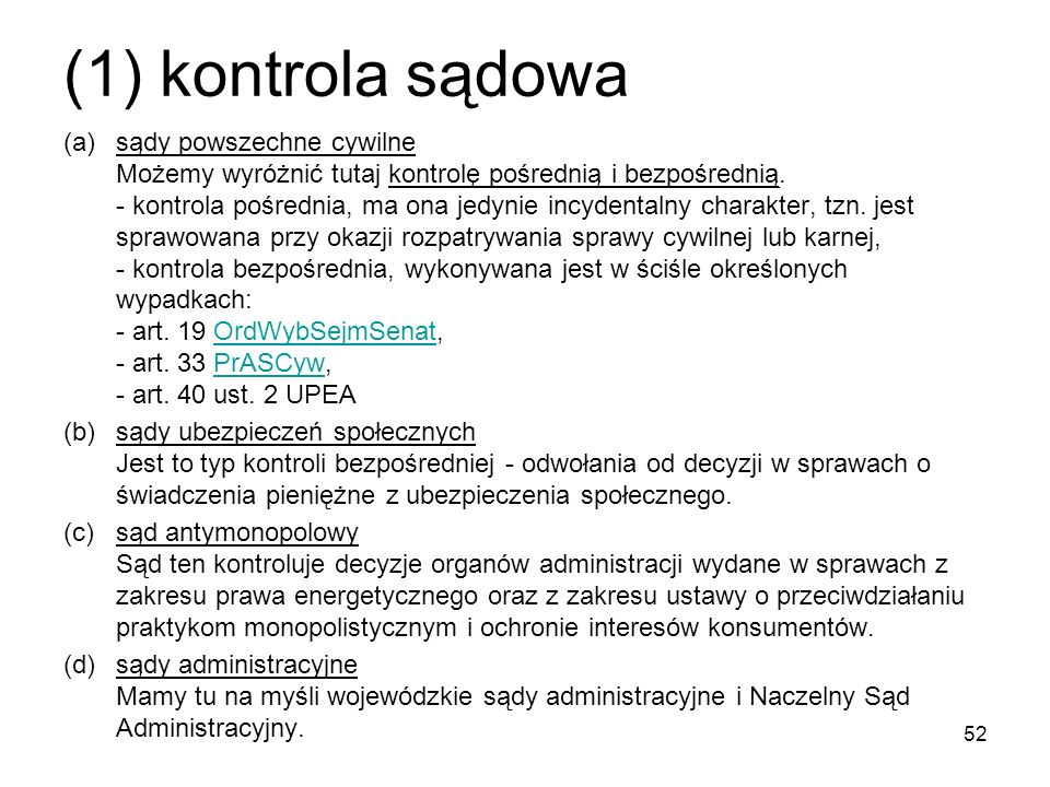 (1) kontrola sądowa