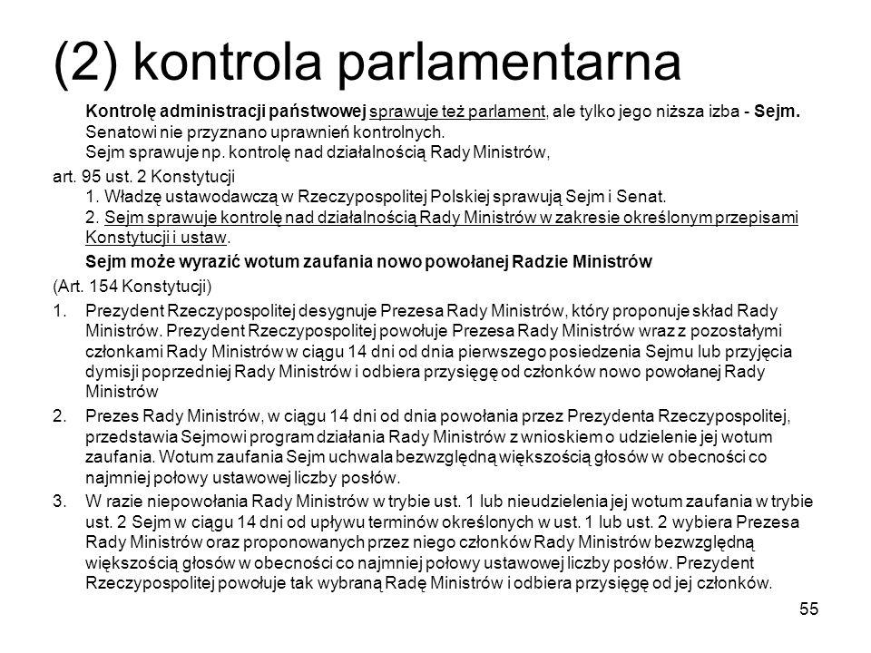 (2) kontrola parlamentarna