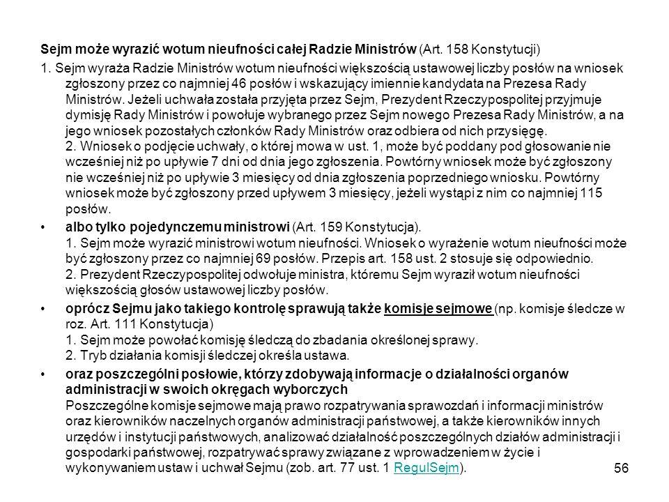 Sejm może wyrazić wotum nieufności całej Radzie Ministrów (Art