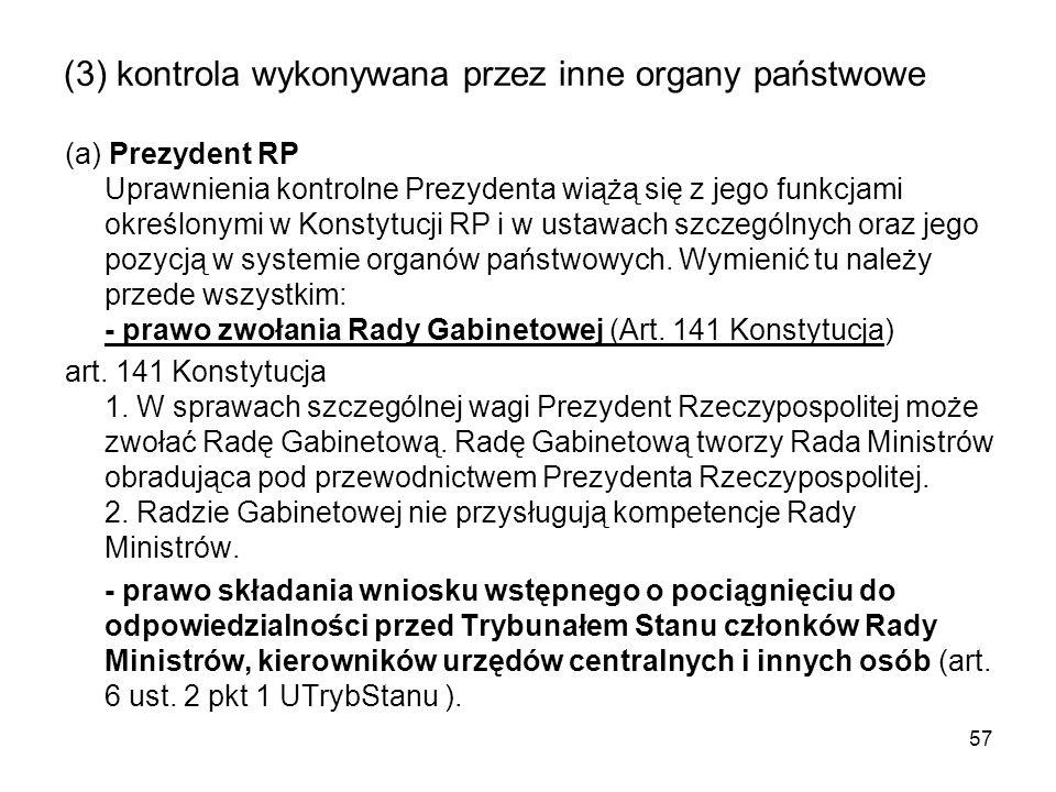 (3) kontrola wykonywana przez inne organy państwowe