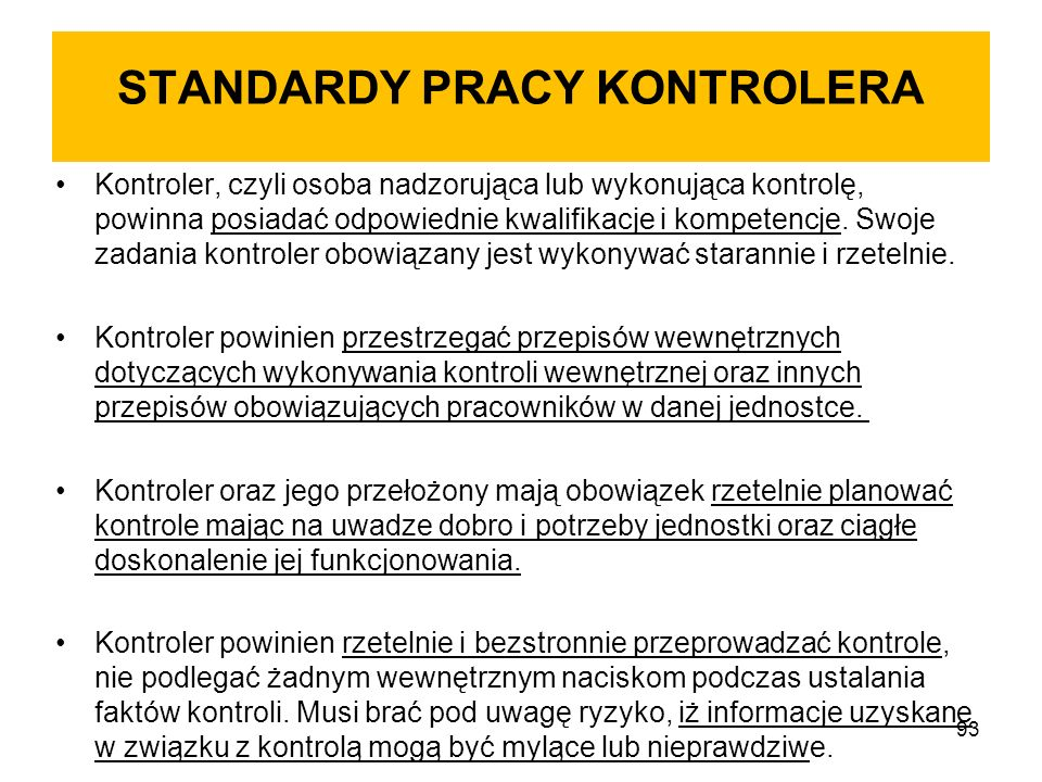 STANDARDY PRACY KONTROLERA