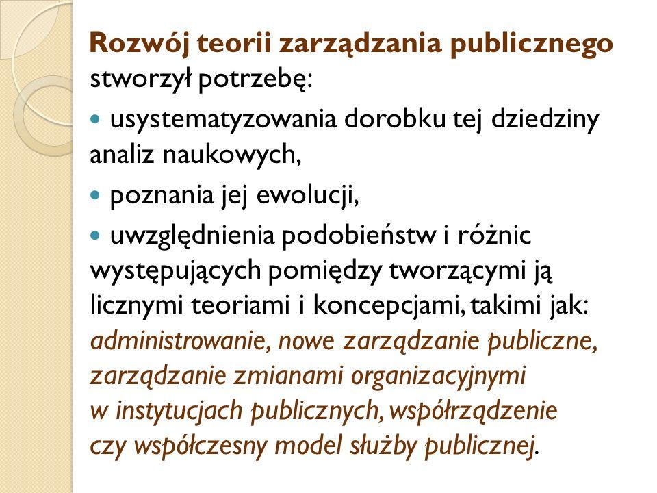 Rozwój teorii zarządzania publicznego stworzył potrzebę: