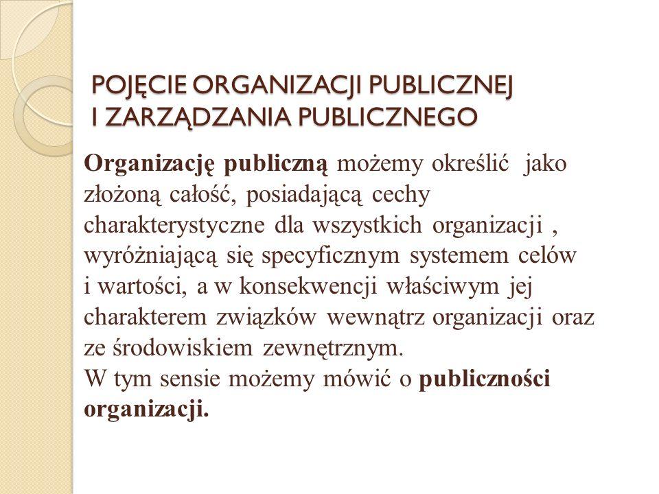 POJĘCIE ORGANIZACJI PUBLICZNEJ I ZARZĄDZANIA PUBLICZNEGO