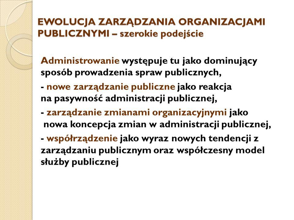 EWOLUCJA ZARZĄDZANIA ORGANIZACJAMI PUBLICZNYMI – szerokie podejście