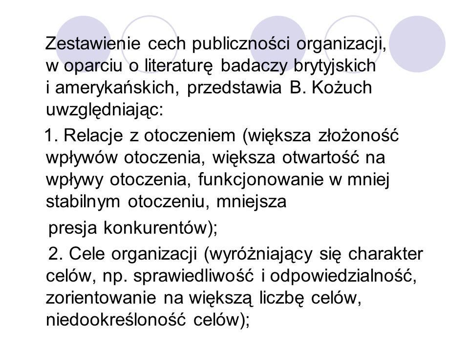 Zestawienie cech publiczności organizacji, w oparciu o literaturę badaczy brytyjskich i amerykańskich, przedstawia B. Kożuch uwzględniając: