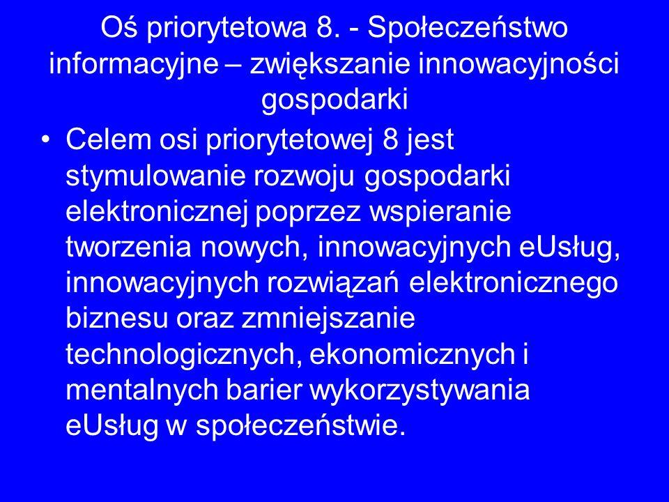 Oś priorytetowa 8. - Społeczeństwo informacyjne – zwiększanie innowacyjności gospodarki