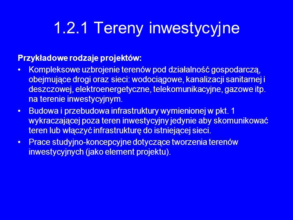 1.2.1 Tereny inwestycyjne Przykładowe rodzaje projektów: