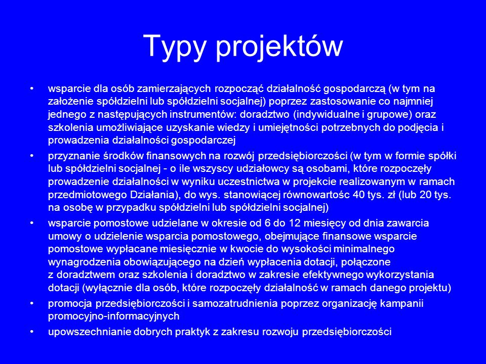 Typy projektów