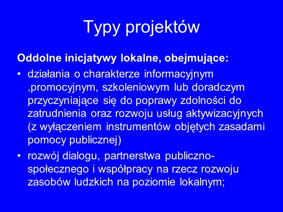 Typy projektów Oddolne inicjatywy lokalne, obejmujące: