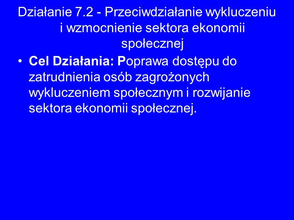 Działanie 7.2 - Przeciwdziałanie wykluczeniu i wzmocnienie sektora ekonomii społecznej