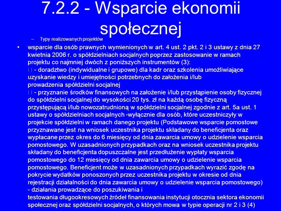 7.2.2 - Wsparcie ekonomii społecznej
