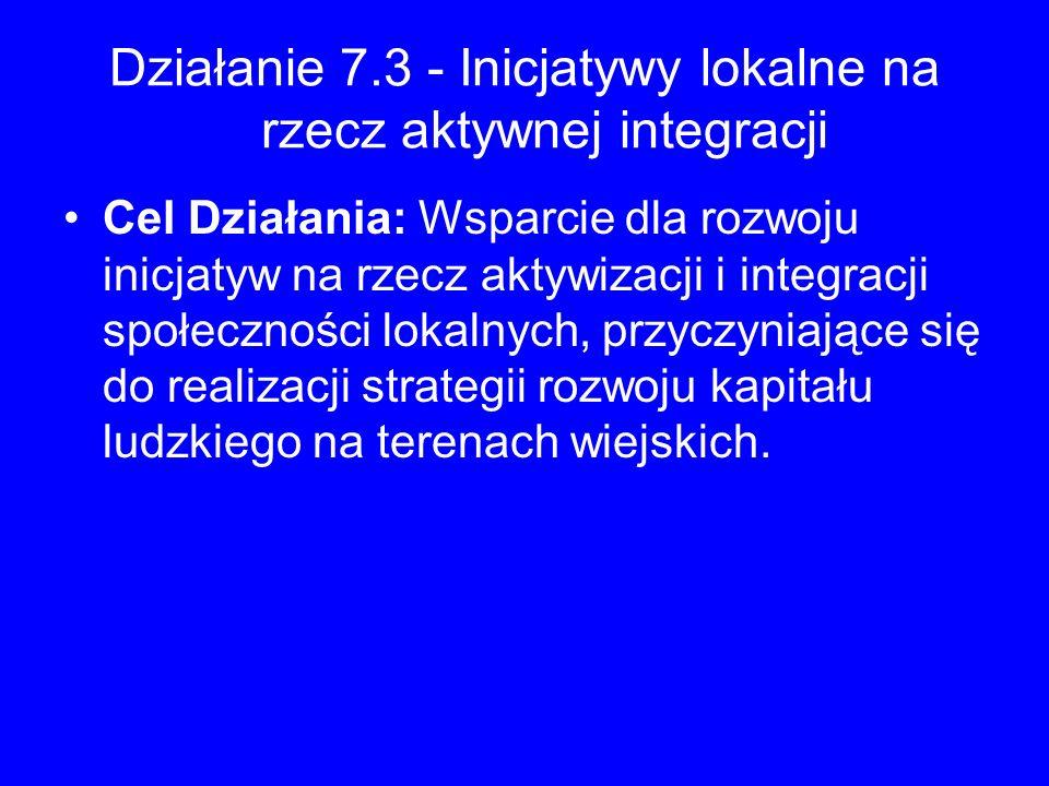 Działanie 7.3 - Inicjatywy lokalne na rzecz aktywnej integracji