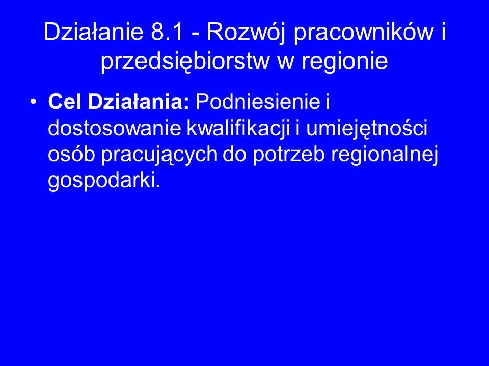 Działanie 8.1 - Rozwój pracowników i przedsiębiorstw w regionie