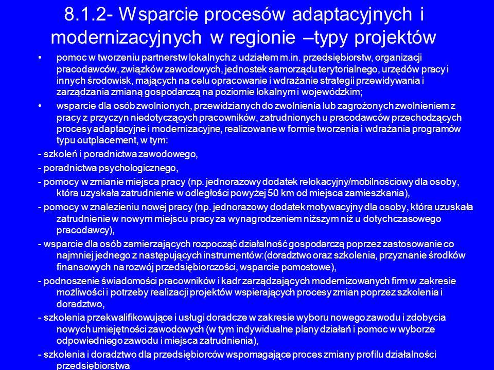 8.1.2- Wsparcie procesów adaptacyjnych i modernizacyjnych w regionie –typy projektów