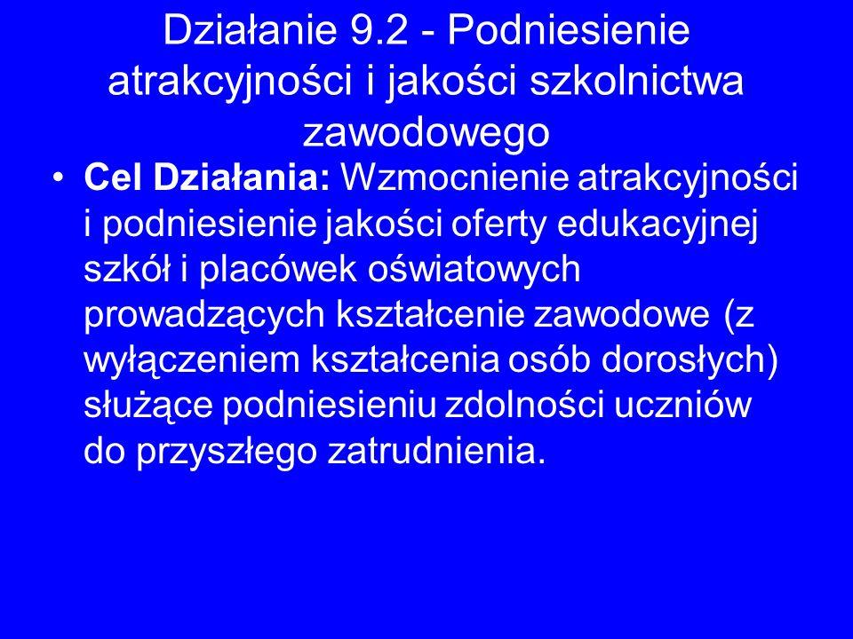 Działanie 9.2 - Podniesienie atrakcyjności i jakości szkolnictwa zawodowego