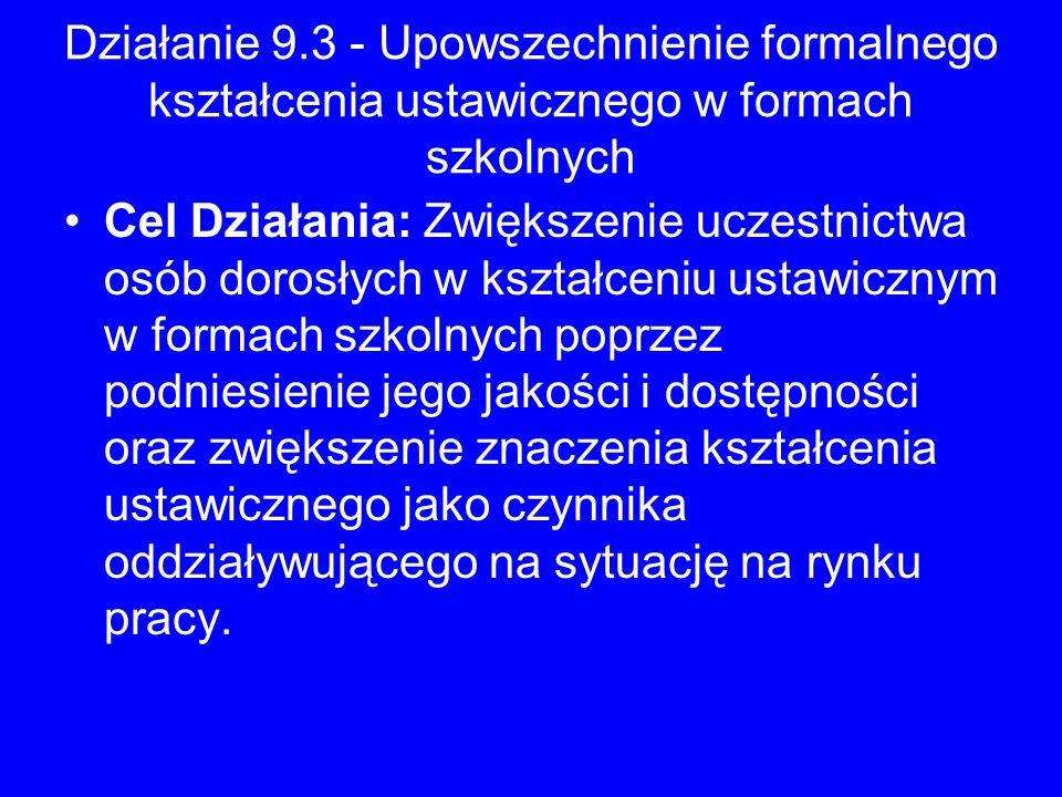 Działanie 9.3 - Upowszechnienie formalnego kształcenia ustawicznego w formach szkolnych
