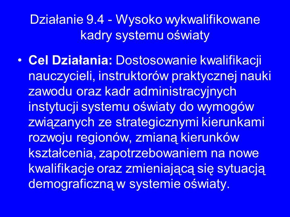 Działanie 9.4 - Wysoko wykwalifikowane kadry systemu oświaty