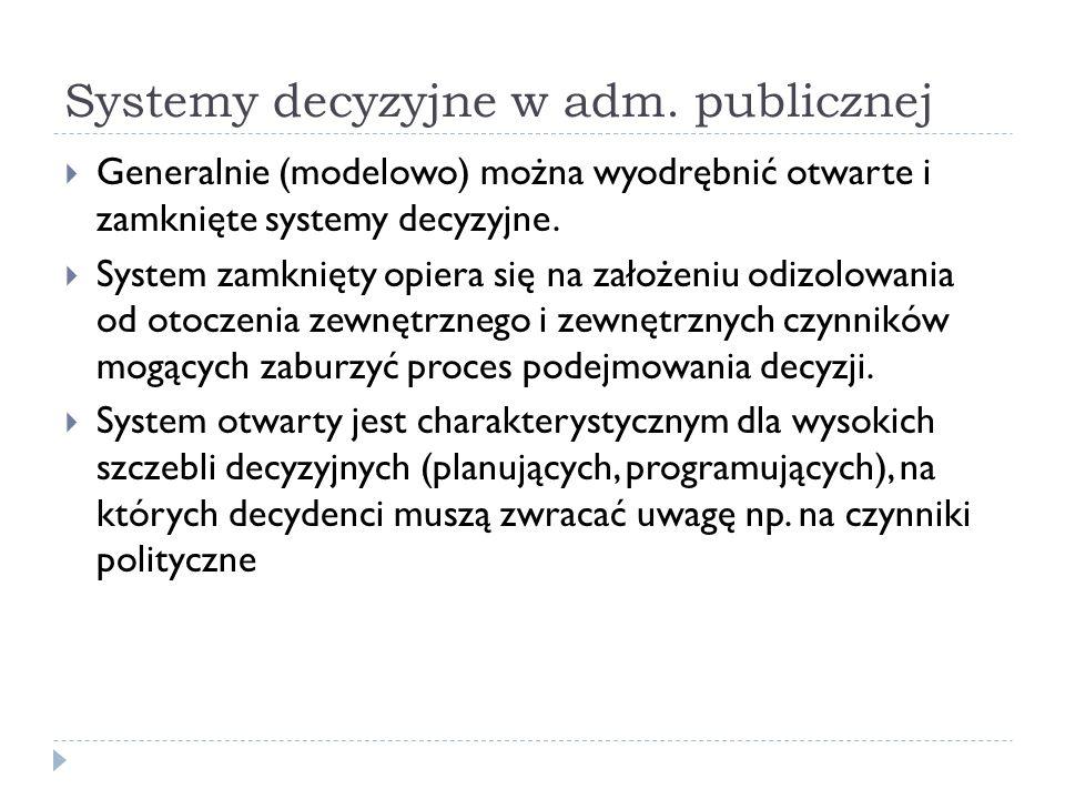 Systemy decyzyjne w adm. publicznej