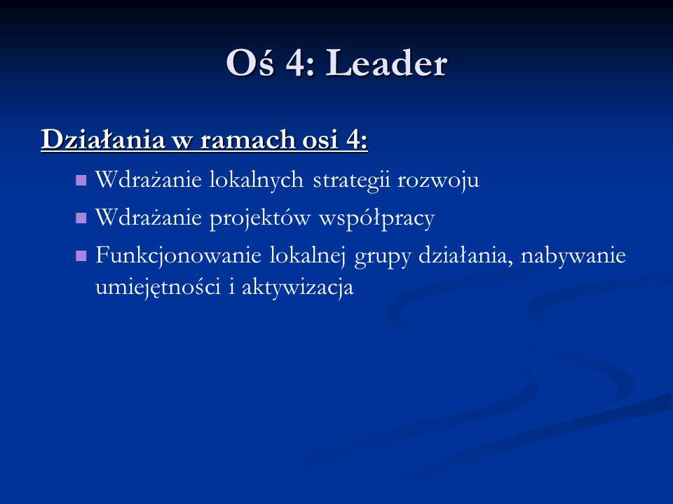 Oś 4: Leader Działania w ramach osi 4: