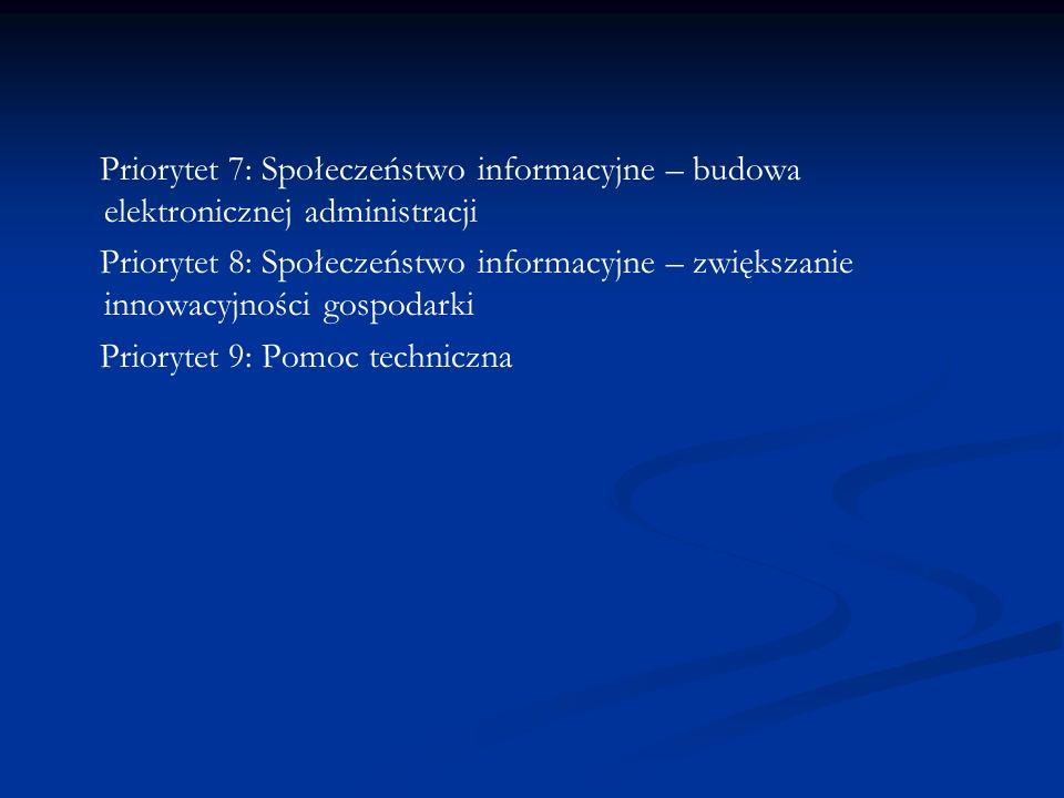 Priorytet 7: Społeczeństwo informacyjne – budowa elektronicznej administracji
