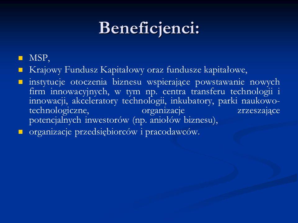 Beneficjenci: MSP, Krajowy Fundusz Kapitałowy oraz fundusze kapitałowe,