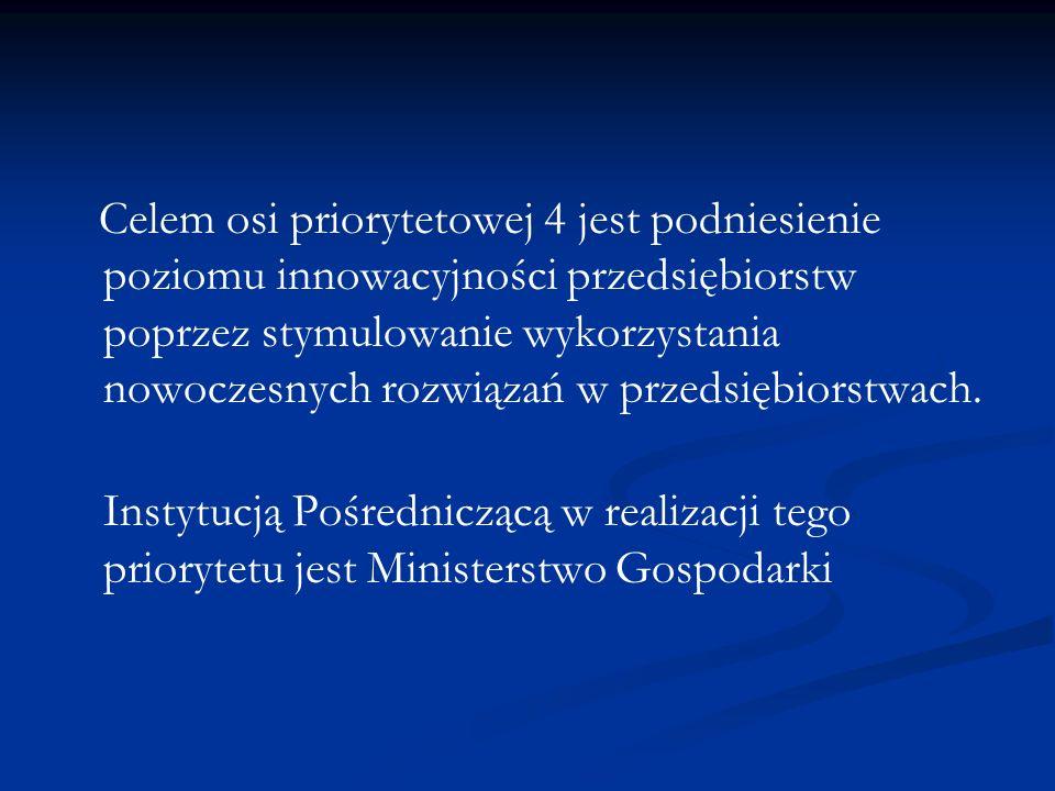 Celem osi priorytetowej 4 jest podniesienie poziomu innowacyjności przedsiębiorstw poprzez stymulowanie wykorzystania nowoczesnych rozwiązań w przedsiębiorstwach.