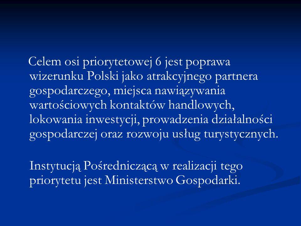 Celem osi priorytetowej 6 jest poprawa wizerunku Polski jako atrakcyjnego partnera gospodarczego, miejsca nawiązywania wartościowych kontaktów handlowych, lokowania inwestycji, prowadzenia działalności gospodarczej oraz rozwoju usług turystycznych.