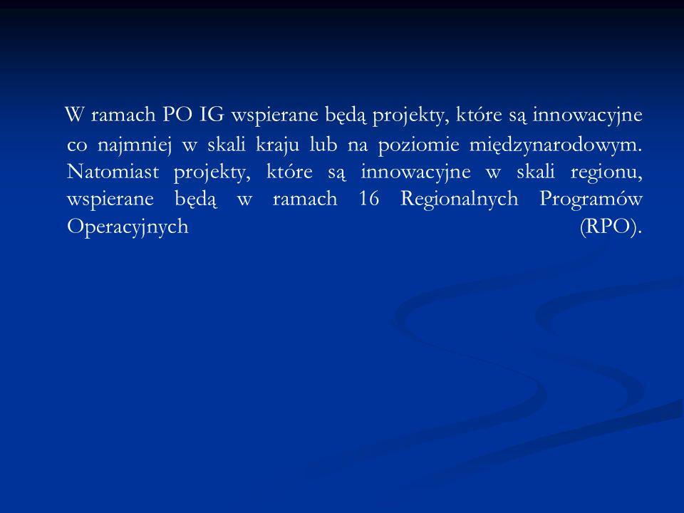 W ramach PO IG wspierane będą projekty, które są innowacyjne co najmniej w skali kraju lub na poziomie międzynarodowym.