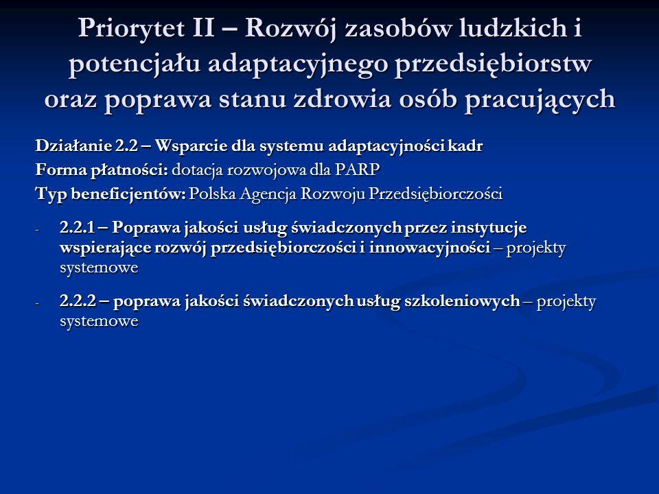 Priorytet II – Rozwój zasobów ludzkich i potencjału adaptacyjnego przedsiębiorstw oraz poprawa stanu zdrowia osób pracujących
