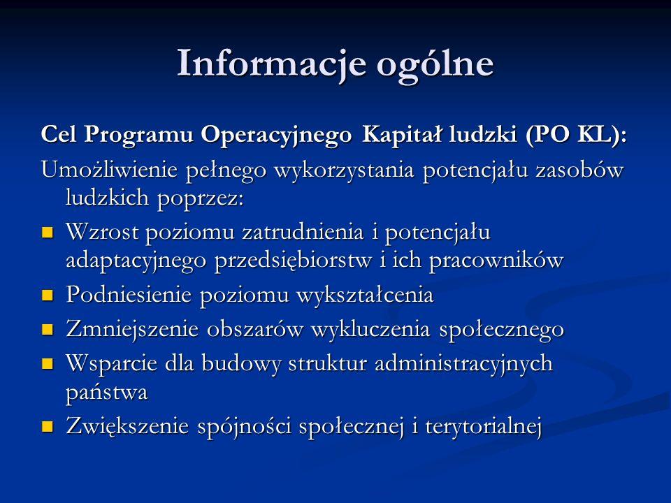 Informacje ogólne Cel Programu Operacyjnego Kapitał ludzki (PO KL):