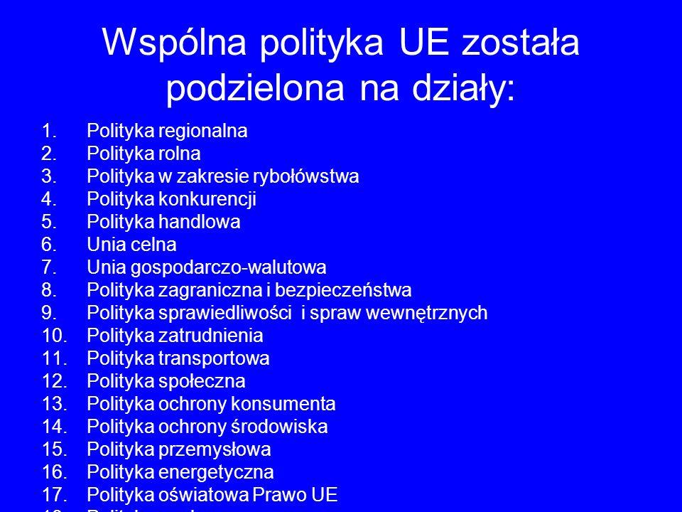 Wspólna polityka UE została podzielona na działy: