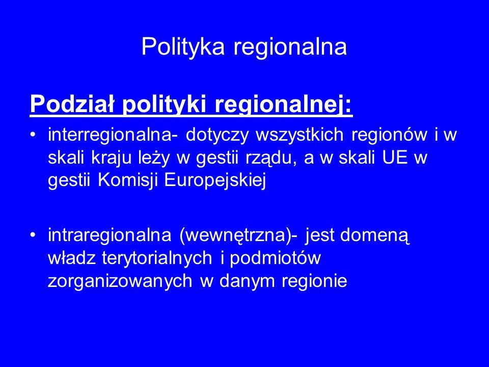 Podział polityki regionalnej:
