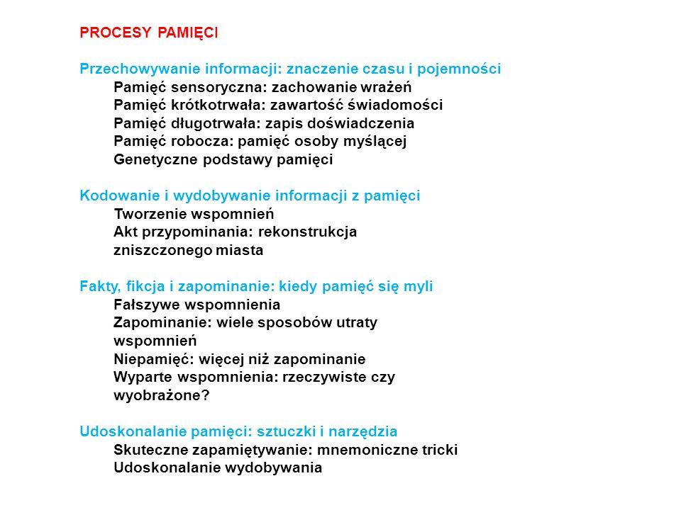 PROCESY PAMIĘCI Przechowywanie informacji: znaczenie czasu i pojemności. Pamięć sensoryczna: zachowanie wrażeń.