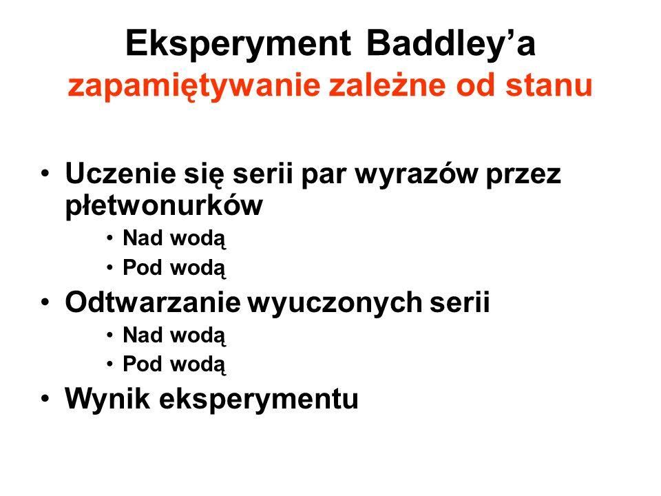 Eksperyment Baddley'a zapamiętywanie zależne od stanu